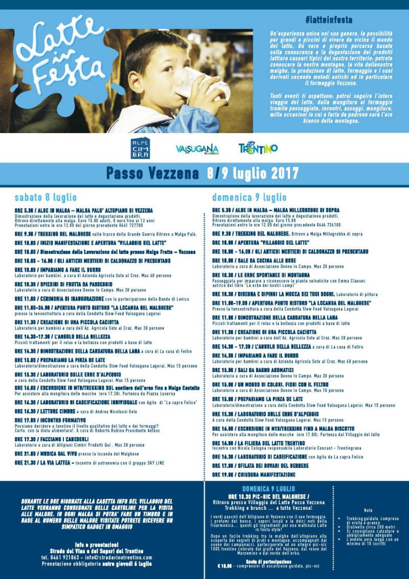 LATTE IN FESTA sull\'alpeggio di Vezzena 8 � 9 luglio 2017